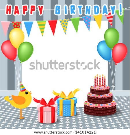 frame with birthday elements - stock vector