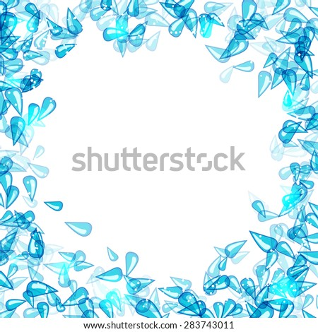 frame with blue water drops - stock vector