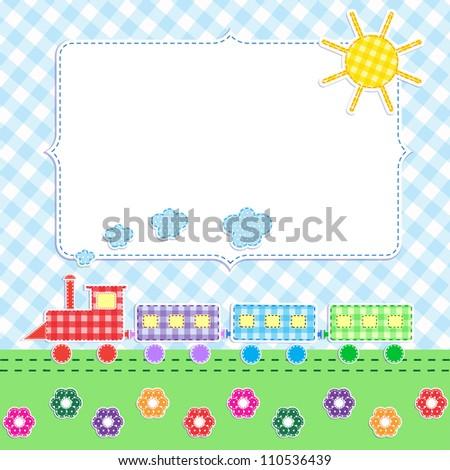 Frame with cartoon train - stock vector