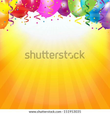 Frame With Colorful Balloons And Sunburst With Gradient Mesh, Vector Illustration - stock vector