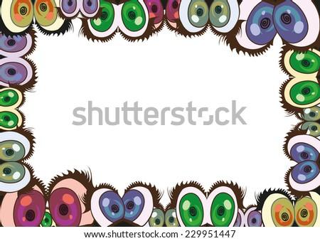 Frame Colorful Cartoon Eyes Stock Vector 229951447 - Shutterstock