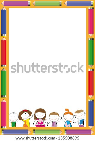 Frame with colorful crayons and happy kids - stock vector