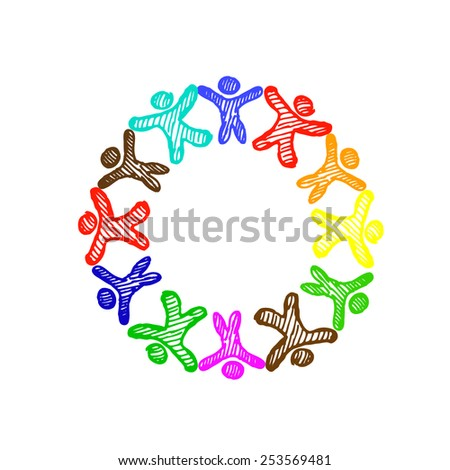 frame with colorful  people. Vector - stock vector