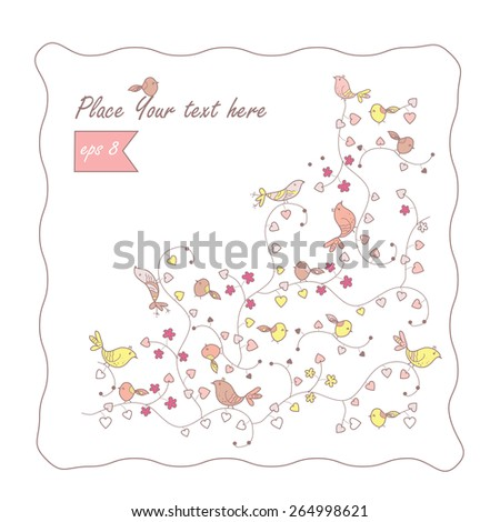 frame with doodle birds - stock vector