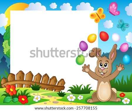 Frame with Easter rabbit theme 4 - eps10 vector illustration.
