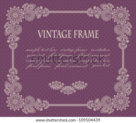 Frame with floral decoration on a violet background with polka dots - stock vector