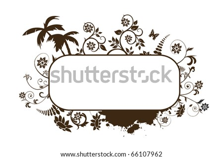 Frame with floral elements on white