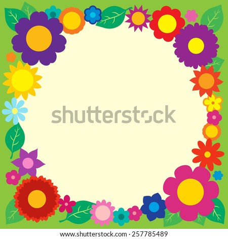 Frame with flower theme 5 - eps10 vector illustration. - stock vector