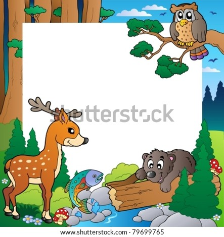Frame with forest theme 1 - vector illustration.