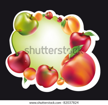 frame with fruits - stock vector