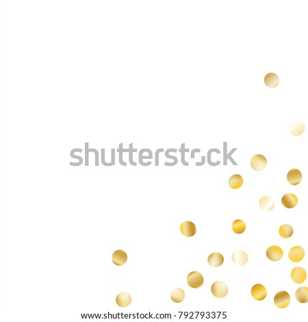 Frame with Golden Confetti Isolated on White Background. Festive Pattern with Glitter for Christmas and New Year Decoration, Birthday Invitation, Poster or Greeting Card. Vector Gold Confetti.