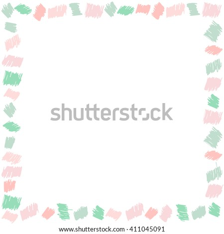 Frame with hand drawn pattern Scribble multicolored background for your text Scrawl kids frame Bright cute hand drawn frame for children. Cute pastel frame. Scribble frame design. Vector illustration. - stock vector
