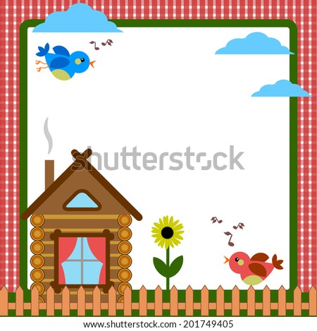 Frame with home - stock vector