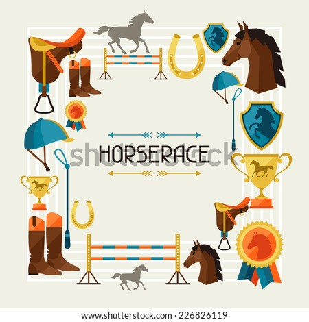 Frame with horse equipment in flat style. - stock vector