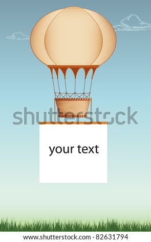 frame with hot air balloon - stock vector