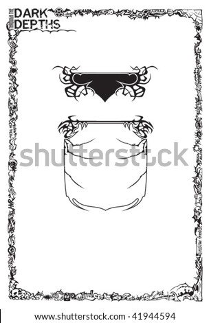 Frame with interwoven elements in Heavy Metal style, plus additional small frames, vector illustration - stock vector