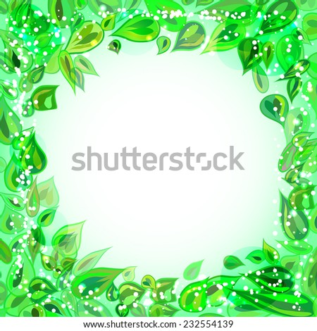 frame with leaves - stock vector
