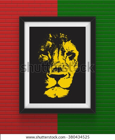 Frame with lion. Concept design, Vector illustration. - stock vector