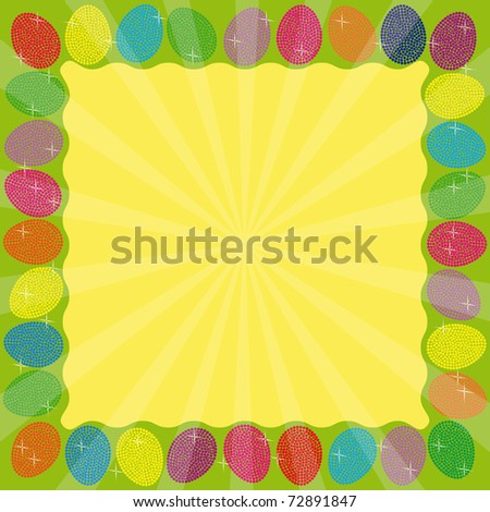 Frame with many colorful eggs