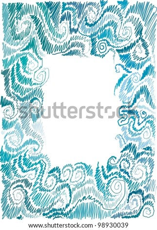 frame with marine motif, scrolls, wave, hand-drawn - stock vector
