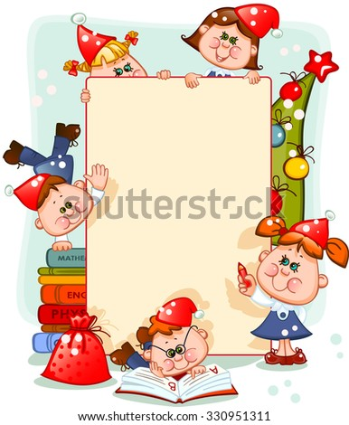 Frame with new year's children and christmas tree. place for text. Vector illustration