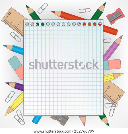 Frame with stationery  - stock vector