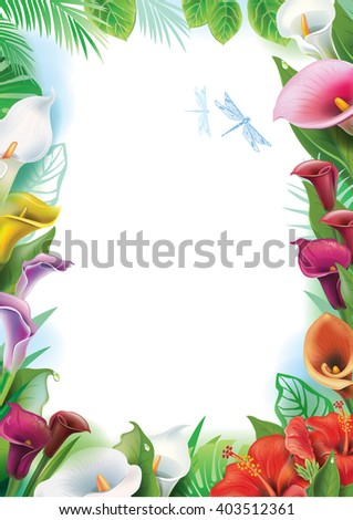 Frame with tropical flowers - stock vector