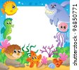 Frame with underwater animals 2 - vector illustration. - stock photo