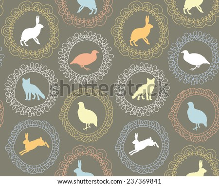 Framed forest animals silhouettes: hare, fox and partridge seamless vector pattern - stock vector