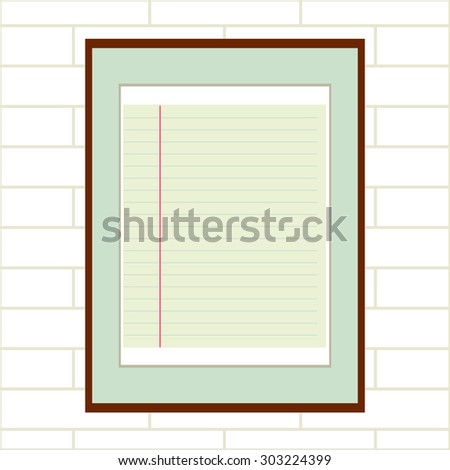 Framed lined paper, white brick wall background. Backgrounds & textures shop. - stock vector
