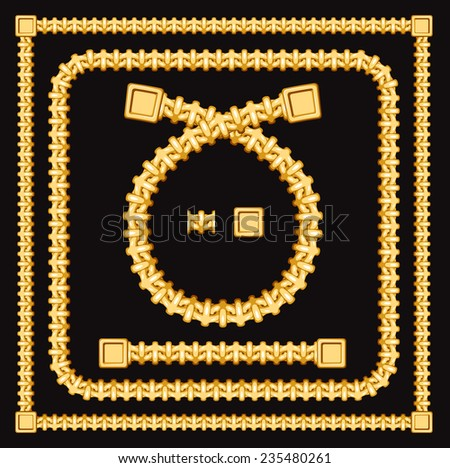 Frames and borders made of golden chains on a black background. Vector illustration with included elements for creating similar frames or borders
