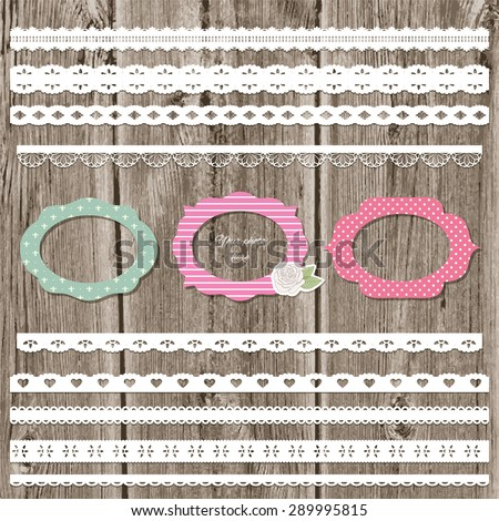 Frames and lace set on wooden background. - stock vector
