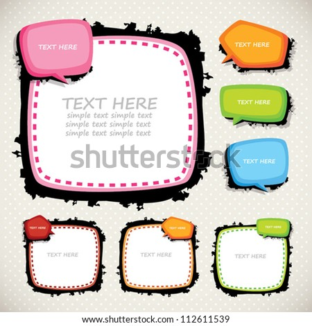 frames and speed bubbles set - stock vector