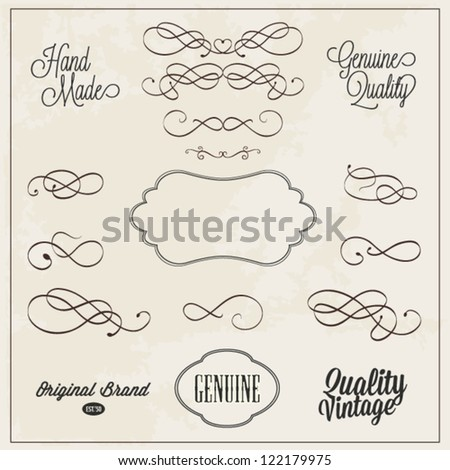 Frames and swirls for decoration hand drawn vector illustration - stock vector