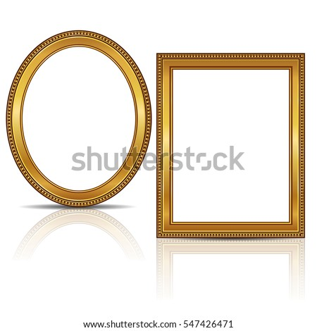frames gold color with shadow on white background