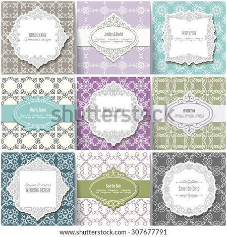 Frames, labels, seamless pattern set. Vintage templates. Can be used in different variations. - stock vector