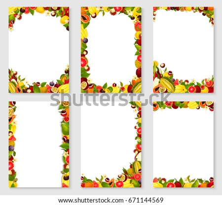 Frames of exotic and garden fruits harvest of fresh papaya, figs or grapefruit and orange, mango, avocado and tropical pineapple or lichee and mangosteen, maracuya passion fruit. Vector templates set