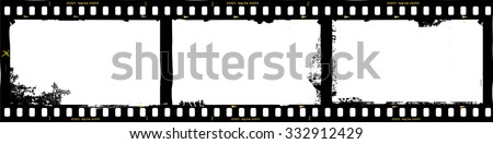 frames of film, grungy photo frames,with free copy space,vector illustration, fictional artwork - stock vector