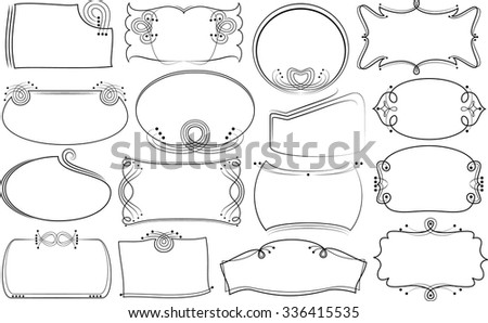 Frames of various configurations. Variants asymmetrical contour. - stock vector