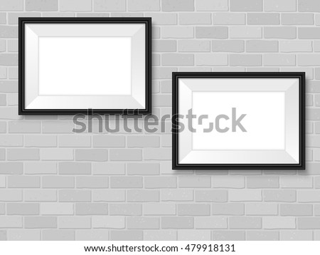 Frames on brick wall. Black horizontal picture frames mock up. Empty simple vector framing for presentation your illustrations, drawings, paintings, posters or photos.