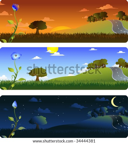 Frames representing the evolution of a flower at sunrise, afternoon and night. Each frame on separate layers, easily editable. Vector EPS 8. Radial and linear gradients used. - stock vector