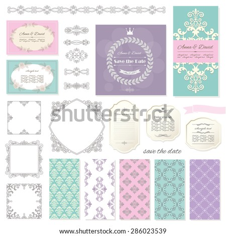 Frames, templates, calligraphic design elements. Can be used for scrapbook or wedding design. - stock vector