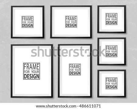 Frames Wall Gallery On Grunge Light Stock Vector 486611071 ...