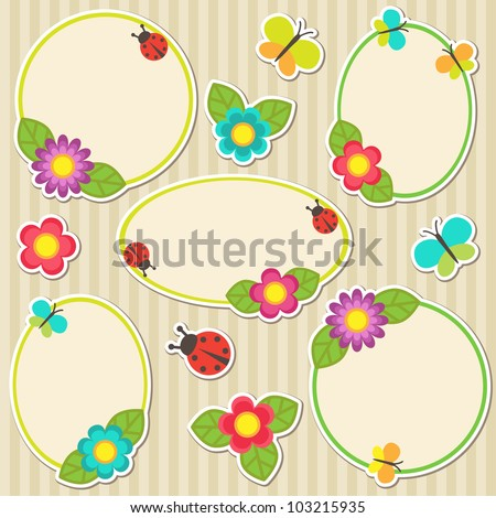 Frames with flowers - stock vector