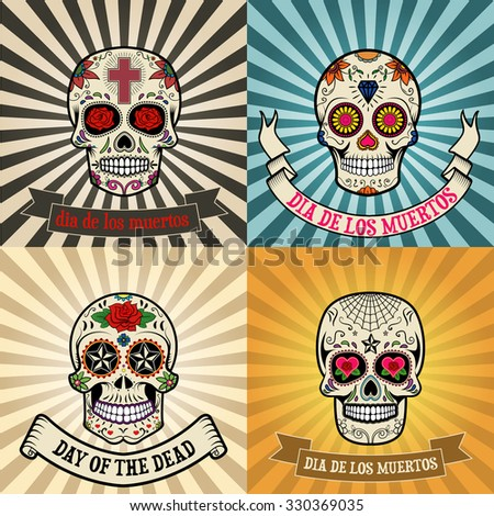 Frames with sugar skull on background. Day of the dead.  Dia de los muertos. Vector illustration. - stock vector