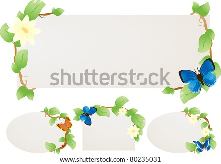 Framework for the text framed by floral patterns with butterflies - stock vector