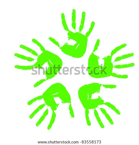 Framework from five prints of hands. Vector illustration - stock vector
