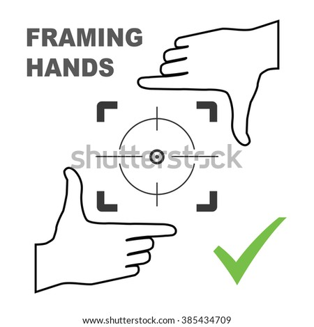 Framing hands aim to something. Frame made from fingers nice fit for photo design. Vector perspective view illustration. - stock vector