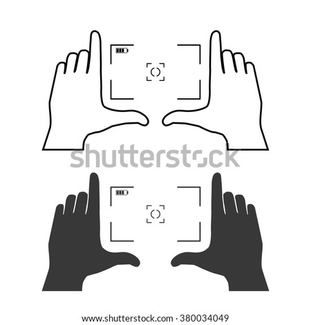 Framing hands as a base of composition. Frame made from fingers of two hands. Simple template vector illustration. - stock vector