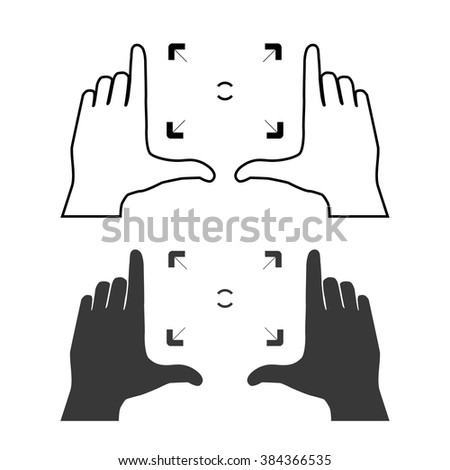Framing hands composition with bold frame. Frame made from fingers of two hands. Simple template vector illustration. - stock vector